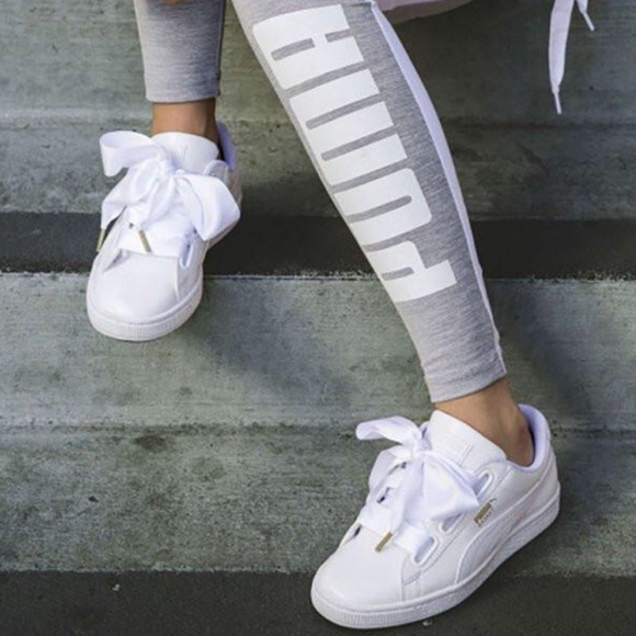 Puma Basket Heart Casual Sneakers White Patent